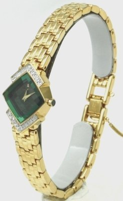 Seiko Lassale Watches Top of the line Sapphire Crystal 23k Gold Finish Diamonds and Safety Chain all made in Japan Women's Watch