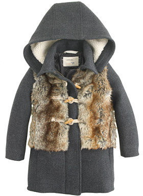 J.Crew Girls' furry stadium-cloth toggle coat