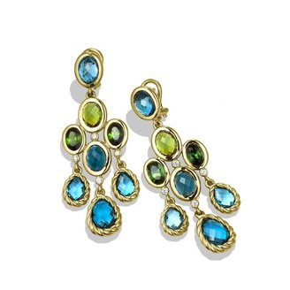 David Yurman DY Signature Collection Chandelier Earrings with Hampton Blue Topaz and Diamonds in Gold