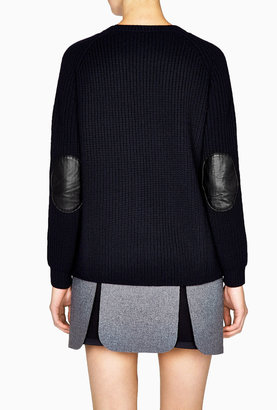 Vanessa Bruno Tricot De Laine Marin Ribbed Jumper With Leather Patched Elb