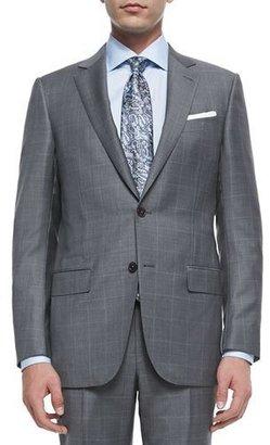 Ermenegildo Zegna Trofeo Wool Windowpane Suit, Blue/Gray $3,095 thestylecure.com
