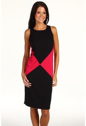 Anne Klein Colorblock Dress (Black/Rouge Multi) - Apparel