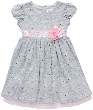Sweet Heart Rose Baby Dress, Baby Girls Knit Sequin Dress