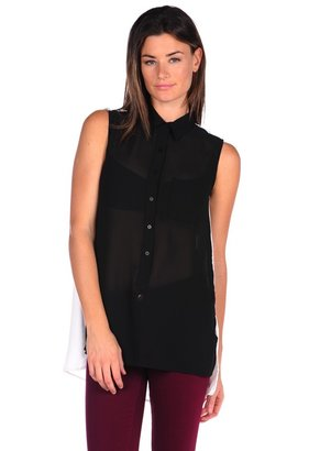 RD Style Sleeveless Color Block Blouse