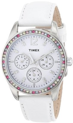 Timex Women's T2P385 Crystal Multi-Function White Leather Strap Watch $34 thestylecure.com