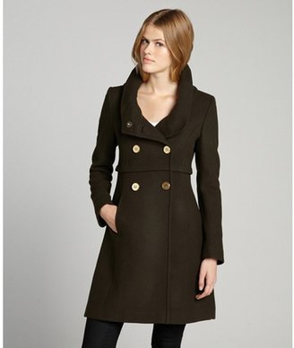 Elie Tahari olive wool blended double breasted 'Alessia' shawl collar coat