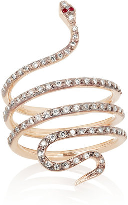 Ileana Makri Python 18-karat rose gold, diamond and ruby ring