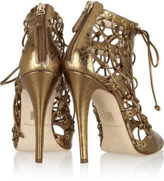 Brian Atwood Lyn metallic elaphe lace-up ankle boots