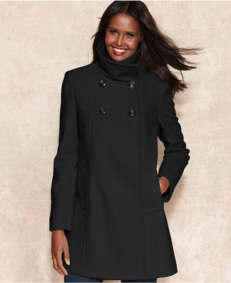 Larry Levine Double-Breasted Wool-Blend Trapeze Coat