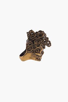Alexander McQueen Brass & crystal Lace Skull Punk Ring