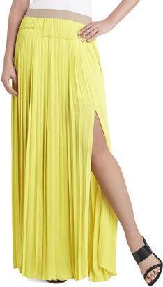 BCBGMAXAZRIA Dillon Pleated Paneled Maxi Skirt