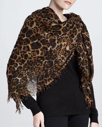Sofia Cashmere Featherweight Leopard-Print Cashmere Scarf, Camel