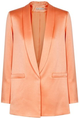 Alice + Olivia Kylie Orange Satin-crepe Blazer