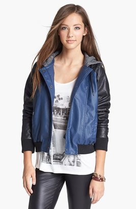 Jack Hooded Faux Leather Jacket (Juniors)