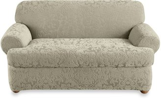 Bed Bath & Beyond Sure Fit® Stretch Jacquard Sage Sofa and Loveseat Slipcovers