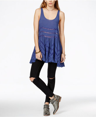 Free People Lace-Trim Printed Trapeze Dress $88 thestylecure.com