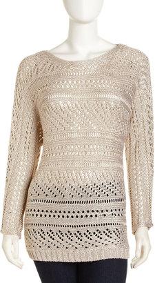 Alice + Olivia Patrick Off-Shoulder Sweater, Pale Gold