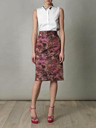 Lulu & Co Palm-print pencil skirt