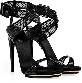 Giuseppe Zanotti Black Patent Leather Mesh Sandals