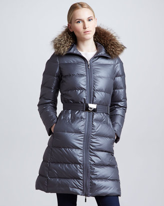 Moncler Long Puffer Coat with Fur-Trimmed Hood, Charcoal