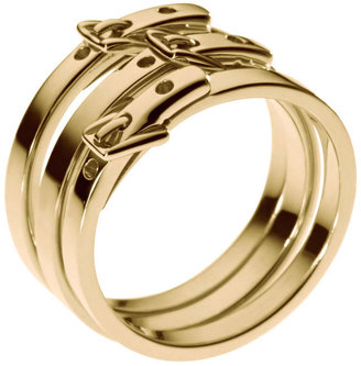 Michael Kors Gold-Tone Round Buckle Stacked Rings