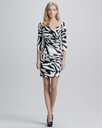 Diane von Furstenberg Bentley Zebra-Print Ruched Dress