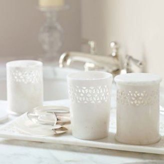 Jali Marble Vanity Canisters Set of 3