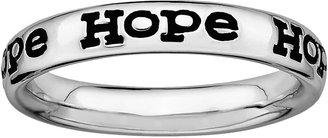 "Stacks & Stones Sterling Silver Black Enamel ""Hope"" Stack Ring"