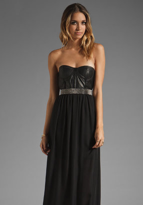 Alice + Olivia Mariah Bustier Overlay Skirt Dress with Belt