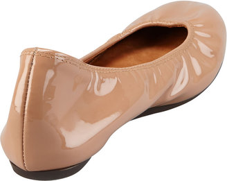 Lanvin Scrunched Patent Leather Ballerina Flat, Nude