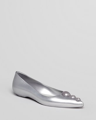 Melissa + Karl Lagerfeld Pointed Toe Jelly Flats - Glam Sparkle