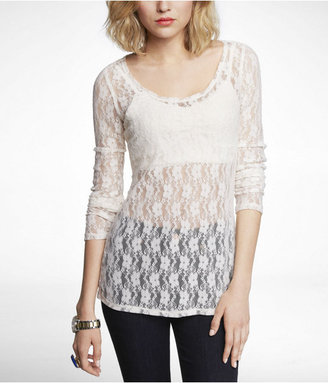Express Pansy Lace Scoop Neck Lace Tee