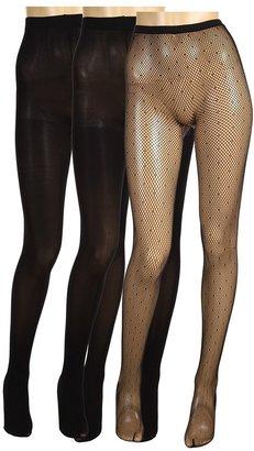 Nicole Miller 3-Pack Swiss Dot Fishnet Tight (Black/Black/Black) - Hosiery
