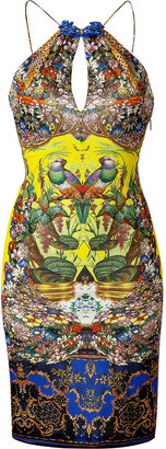 Roberto Cavalli Yellow-Multi Embellished Jersey Dress