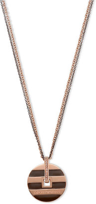 Emporio Armani Necklace, Rose Gold Ion Plated and Brown Ion Plated Stainless Steel Pendant Necklace EGS1587