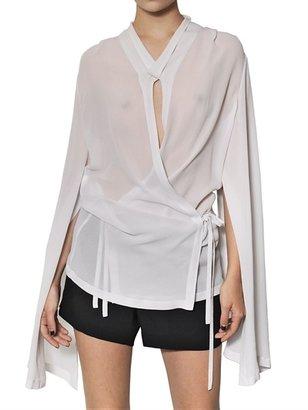 Ann Demeulemeester Silk Georgette Wrap Over Shirt
