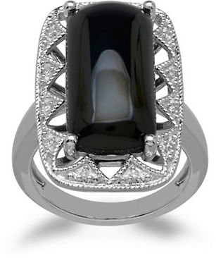 Lord & Taylor Sterling Silver Diamond & Onyx Ring