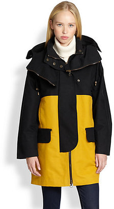 See by Chloe Colorblock Hooded Cotton Coat