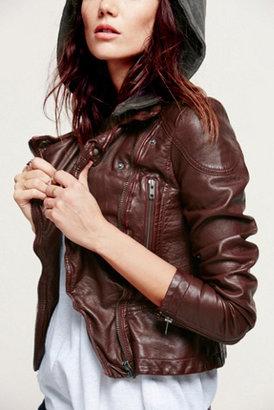 Free People Vegan Leather Hooded Motorcycle Jacket