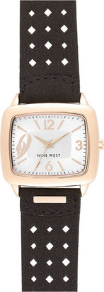 Nine West Watch, Women's Black Perforated Leather Strap NW-1080RGBN