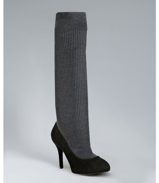 Dolce & Gabbana black and grey suede ribbed sock inset pumps