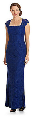 Adrianna Papell Open-Back Lace Gown