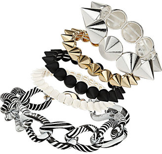 Topshop Spike Curb Chain Bracelet Pack