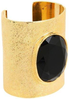 Noir Modernist Stone Cuff Bracelet (Scratch Gold/Black) - Jewelry
