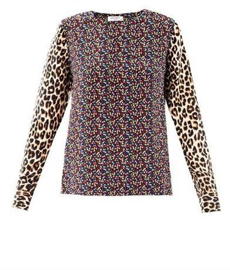 Equipment Contrast-print silk blouse