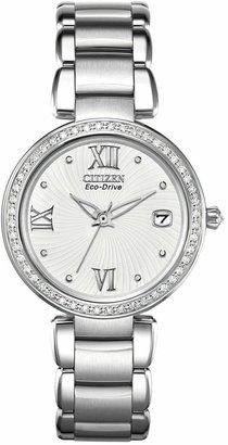 Citizen Women's Eco-Drive Signature Diamond Accent Stainless Steel Bracelet Watch 33mm EO1100-57A