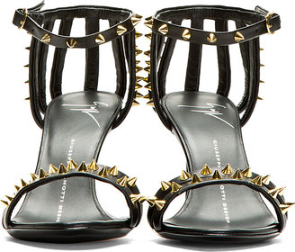 Giuseppe Zanotti Black Leather Studded Coline Heels