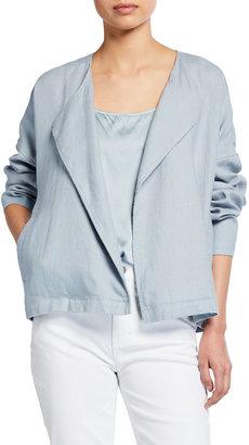 Eileen Fisher Plus Size Heavy Organic Linen Drape Front Jacket