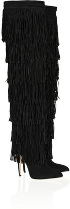 Brian Atwood Viva fringed suede over-the-knee boots