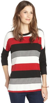 Wyatt red and black stripe stretch jersey side slit top